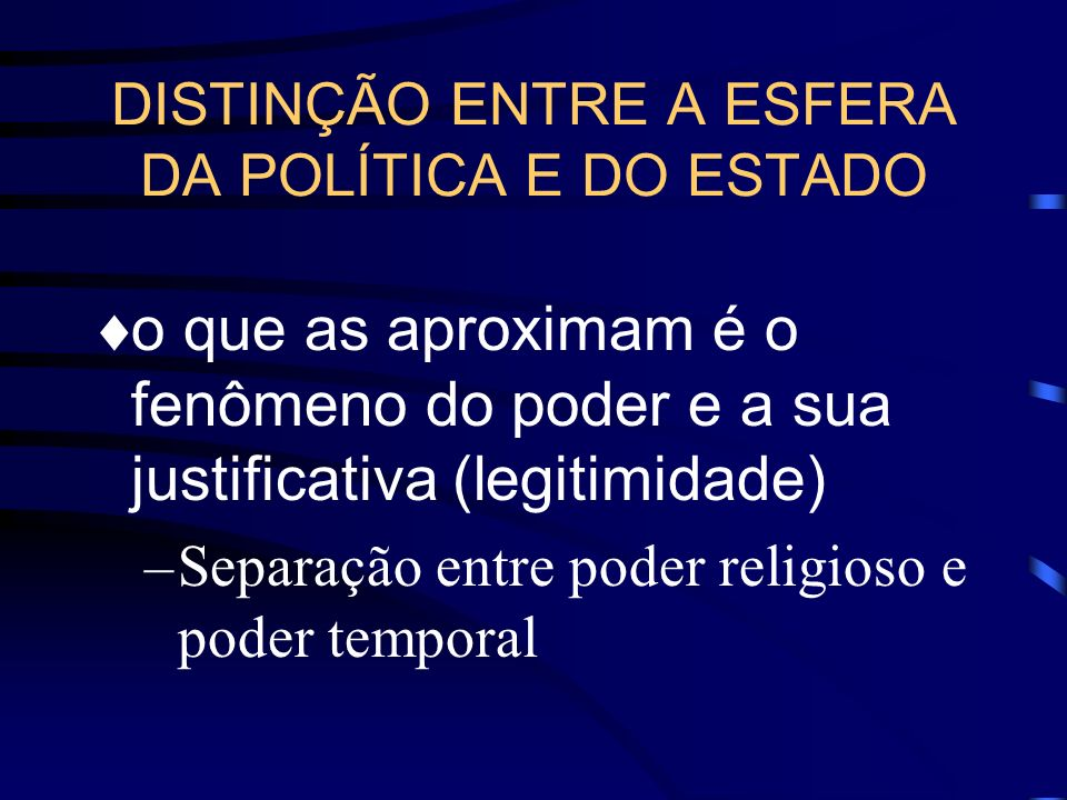 DISTINÇÃO ENTRE A ESFERA DA POLÍTICA E DO ESTADO