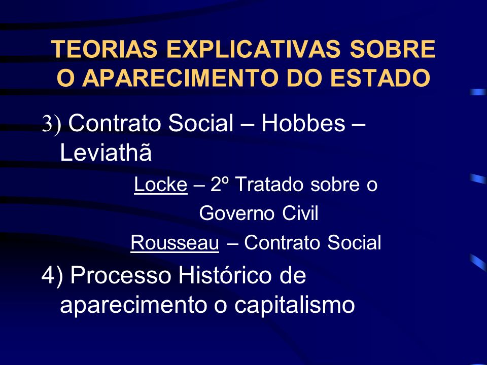 TEORIAS EXPLICATIVAS SOBRE O APARECIMENTO DO ESTADO