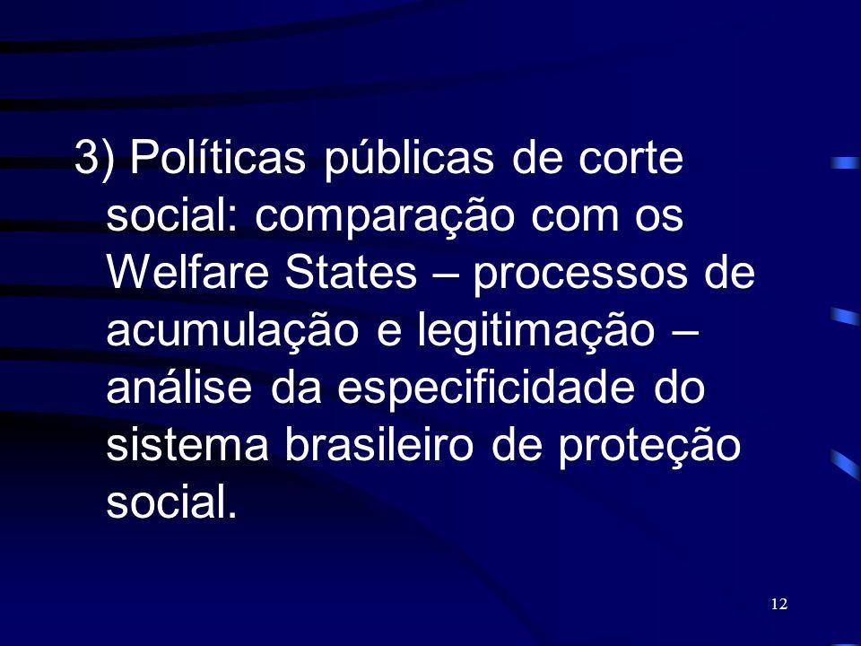 3) Políticas públicas de corte social: comparação com os Welfare States – processos de acumulação e legitimação – análise da especificidade do sistema brasileiro de proteção social.