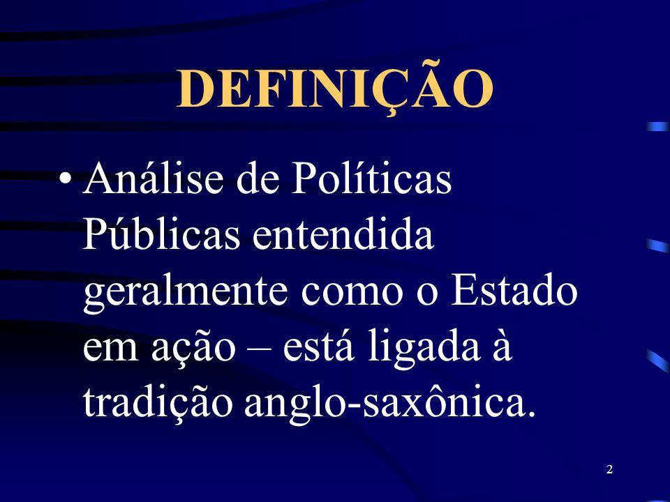 DEFINIÇÃO Análise de Políticas Públicas entendida geralmente como o Estado em ação – está ligada à tradição anglo-saxônica.