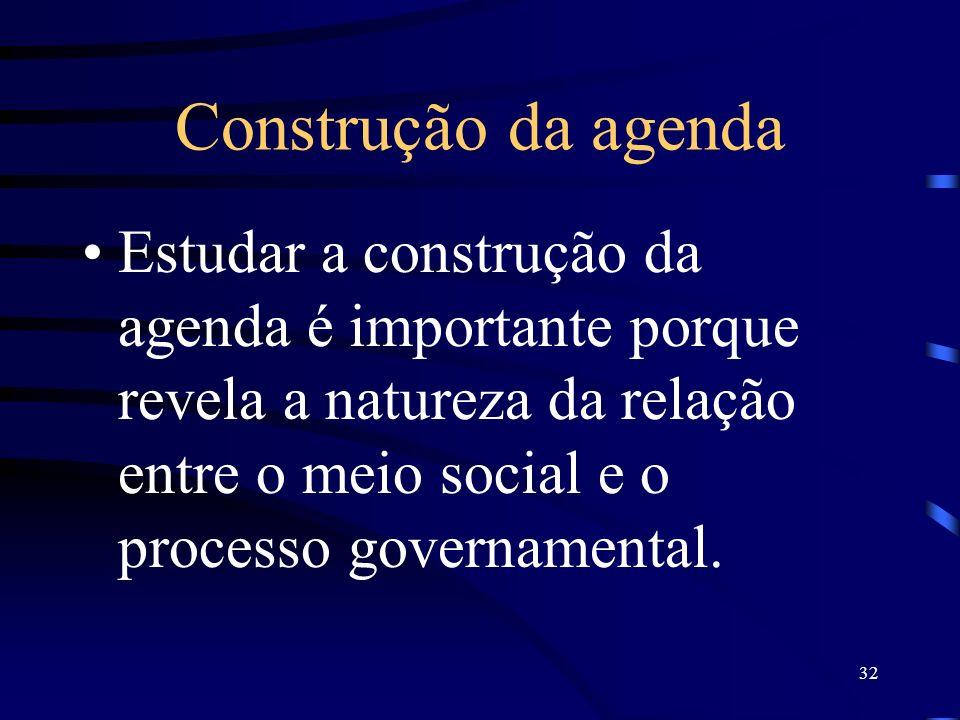 Construção da agenda Estudar a construção da agenda é importante porque revela a natureza da relação entre o meio social e o processo governamental.