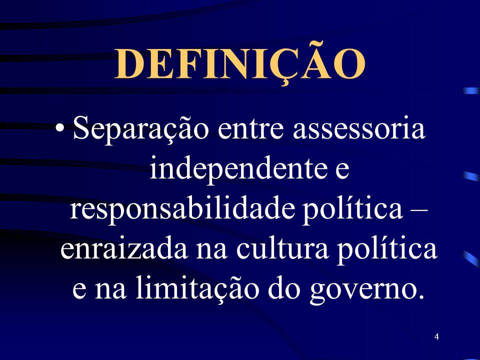 DEFINIÇÃO Separação entre assessoria independente e responsabilidade política – enraizada na cultura política e na limitação do governo.