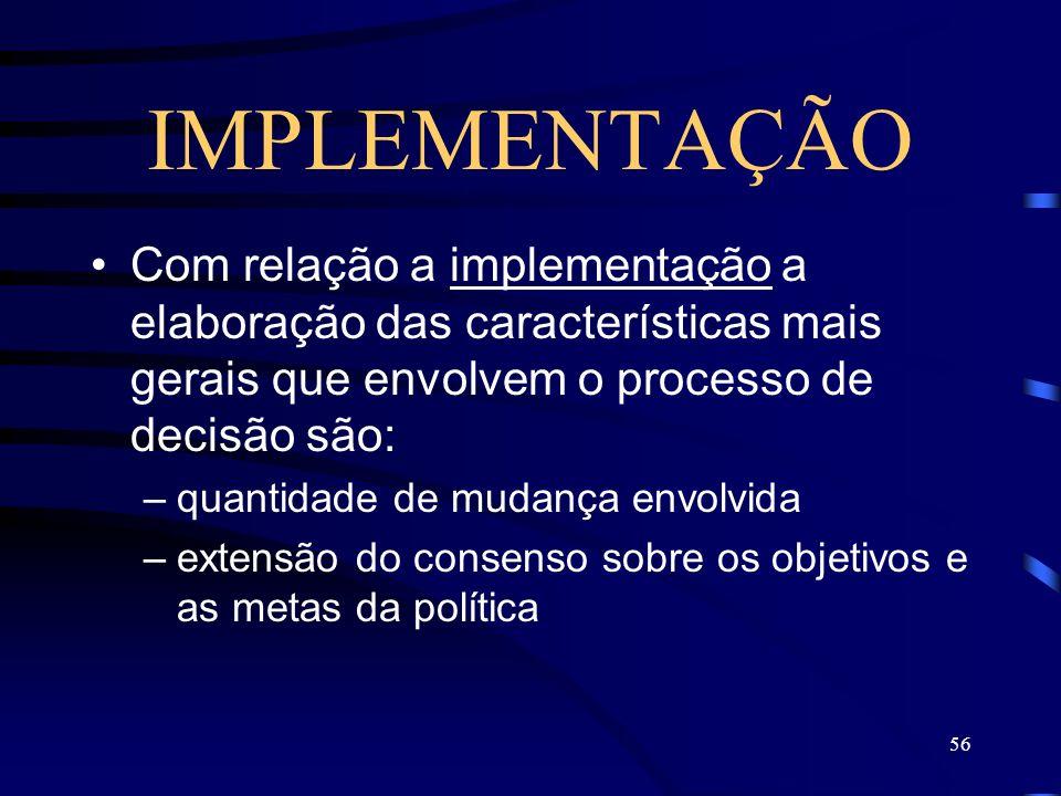 IMPLEMENTAÇÃO Com relação a implementação a elaboração das características mais gerais que envolvem o processo de decisão são: