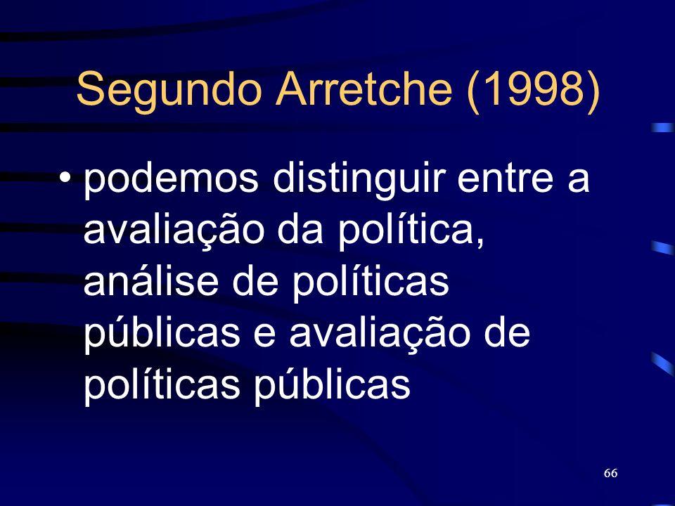 Segundo Arretche (1998) podemos distinguir entre a avaliação da política, análise de políticas públicas e avaliação de políticas públicas.