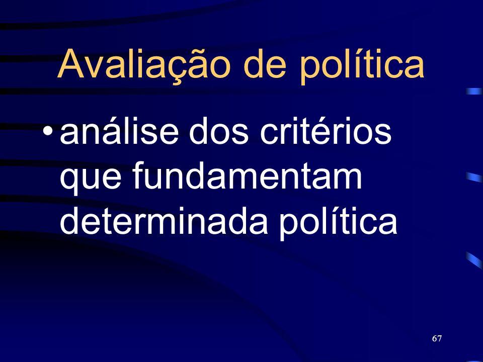 Avaliação de política análise dos critérios que fundamentam determinada política