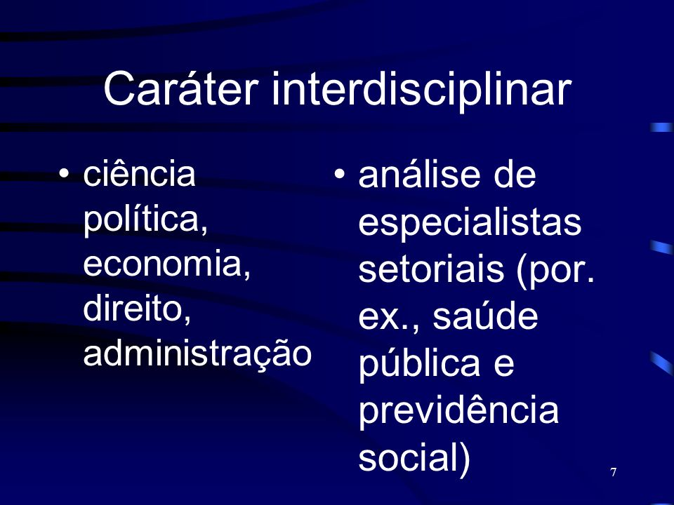 Caráter interdisciplinar