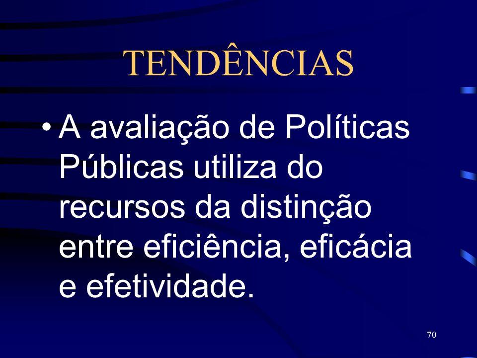 TENDÊNCIAS A avaliação de Políticas Públicas utiliza do recursos da distinção entre eficiência, eficácia e efetividade.