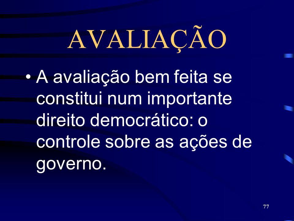AVALIAÇÃO A avaliação bem feita se constitui num importante direito democrático: o controle sobre as ações de governo.