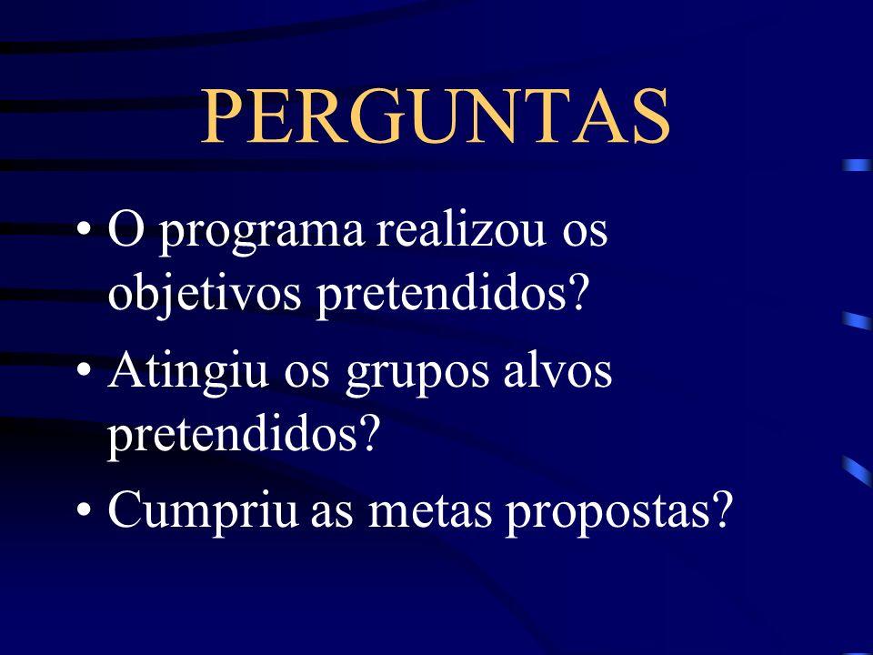 PERGUNTAS O programa realizou os objetivos pretendidos
