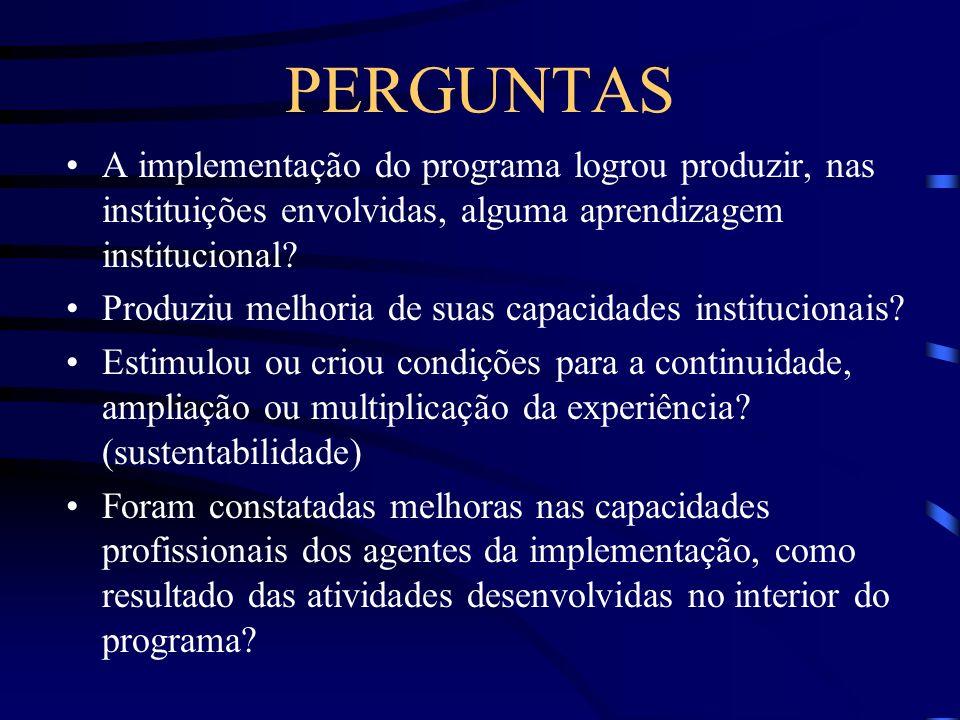 PERGUNTAS A implementação do programa logrou produzir, nas instituições envolvidas, alguma aprendizagem institucional