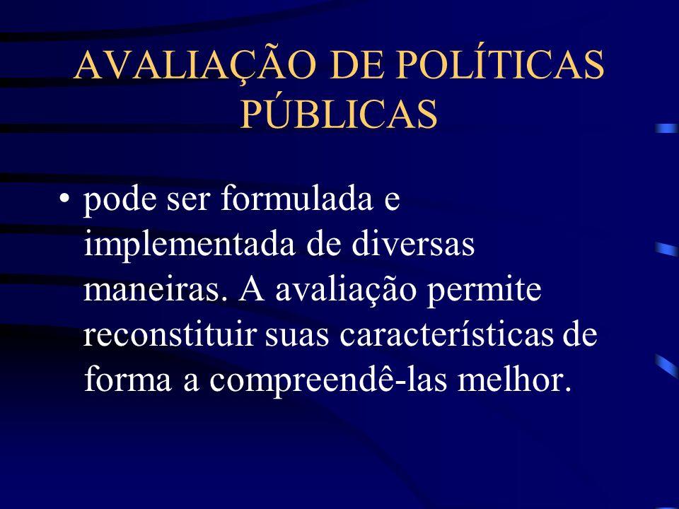 AVALIAÇÃO DE POLÍTICAS PÚBLICAS