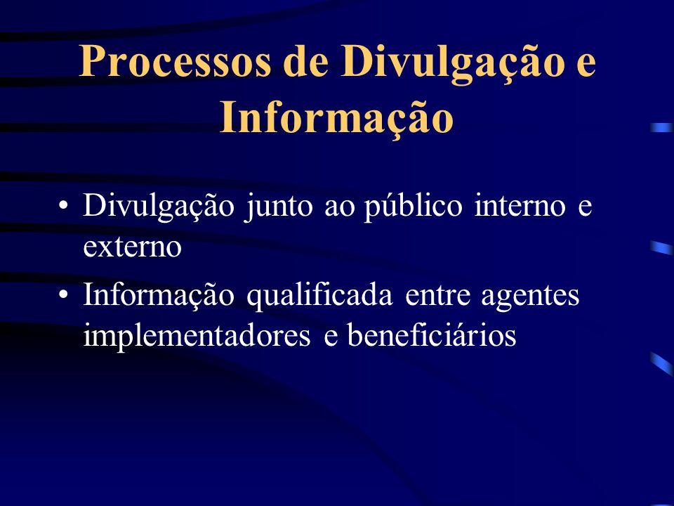 Processos de Divulgação e Informação