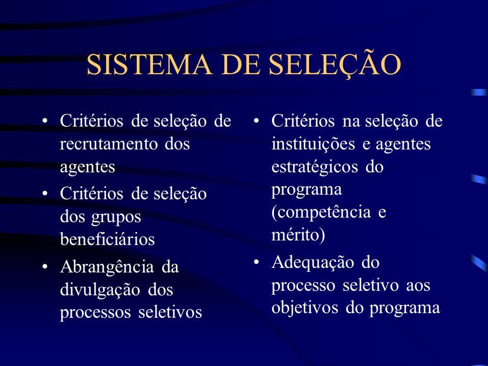 SISTEMA DE SELEÇÃO Critérios de seleção de recrutamento dos agentes