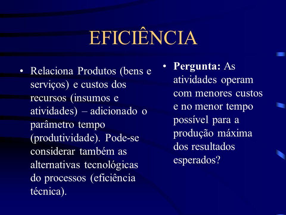 EFICIÊNCIA Pergunta: As atividades operam com menores custos e no menor tempo possível para a produção máxima dos resultados esperados