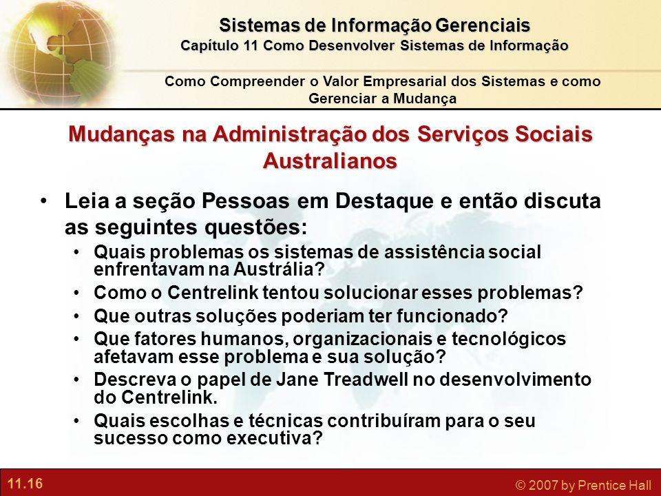 Mudanças na Administração dos Serviços Sociais Australianos