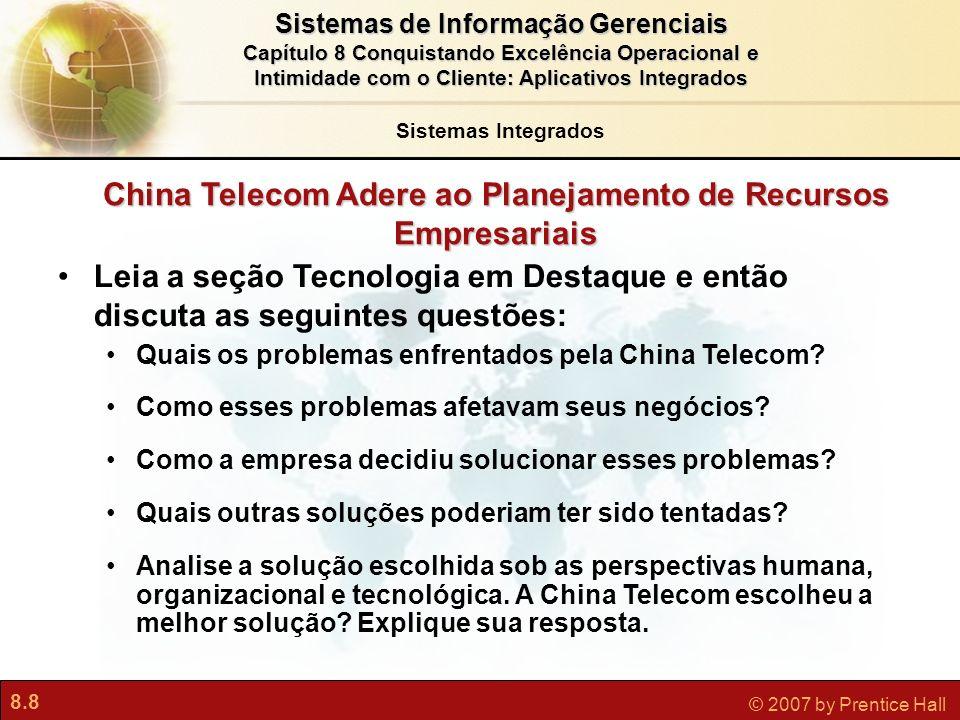 China Telecom Adere ao Planejamento de Recursos Empresariais