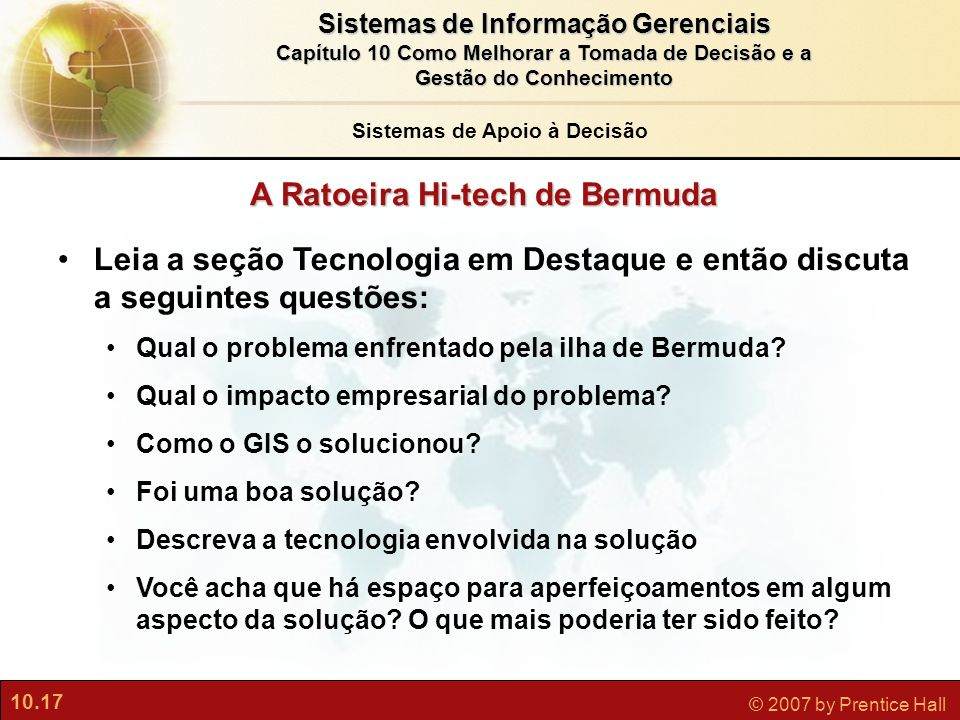 Sistemas de Apoio à Decisão A Ratoeira Hi-tech de Bermuda