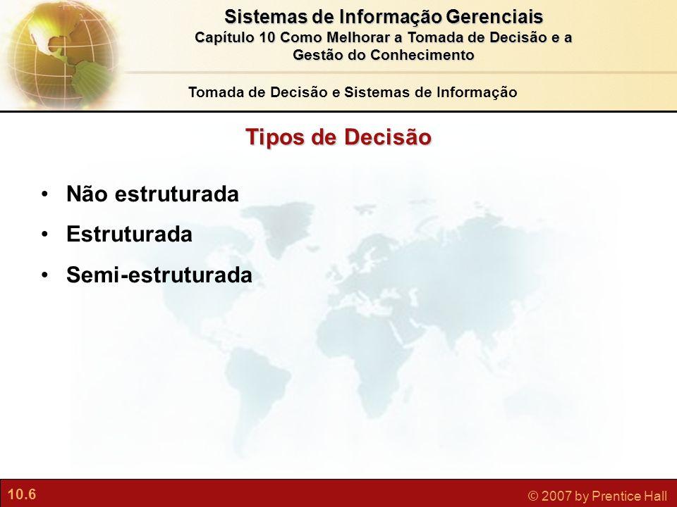 Tomada de Decisão e Sistemas de Informação