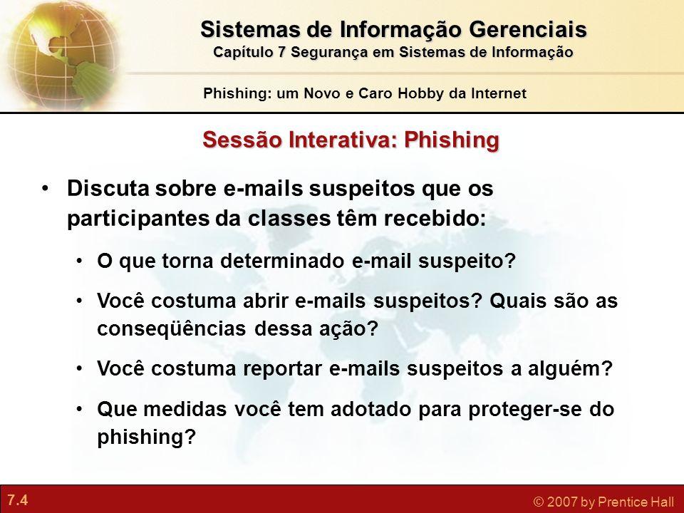 Sistemas de Informação Gerenciais Sessão Interativa: Phishing