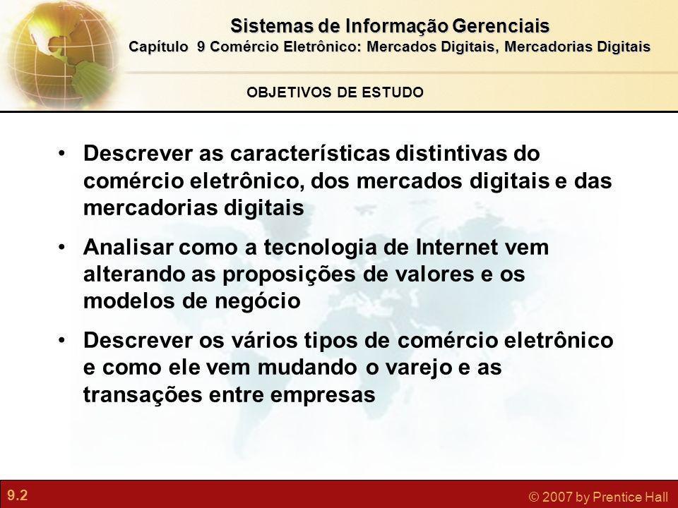 OBJETIVOS DE ESTUDO Descrever as características distintivas do comércio eletrônico, dos mercados digitais e das mercadorias digitais.