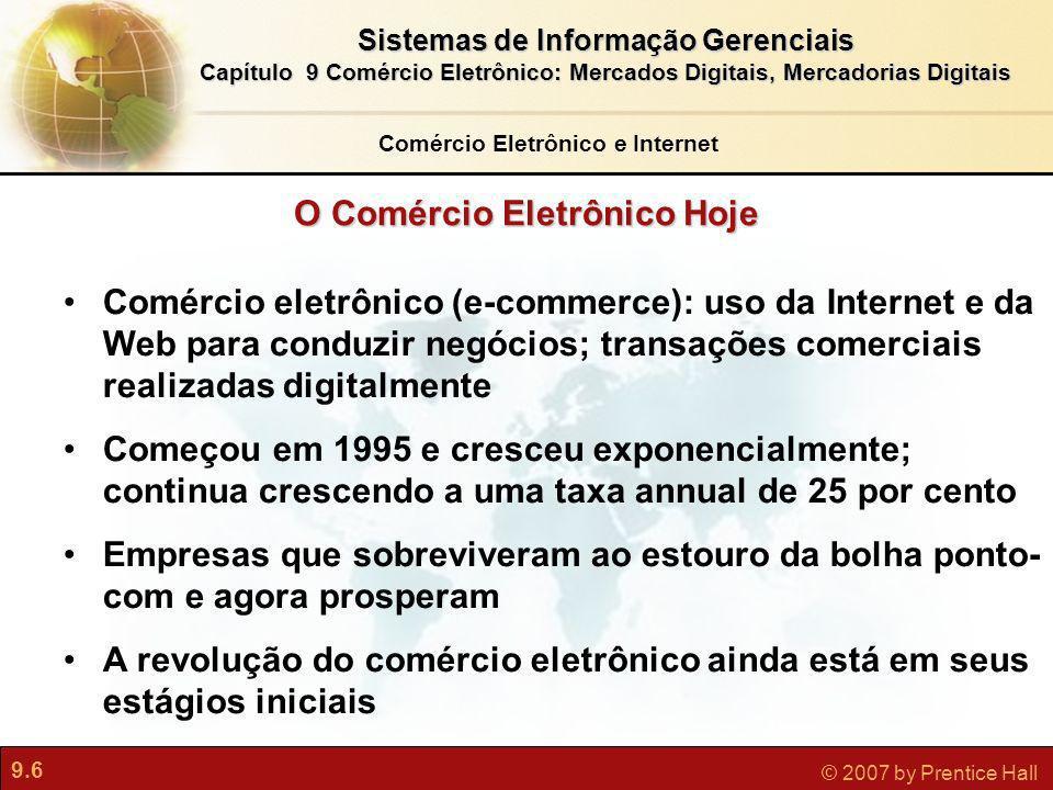 Comércio Eletrônico e Internet O Comércio Eletrônico Hoje