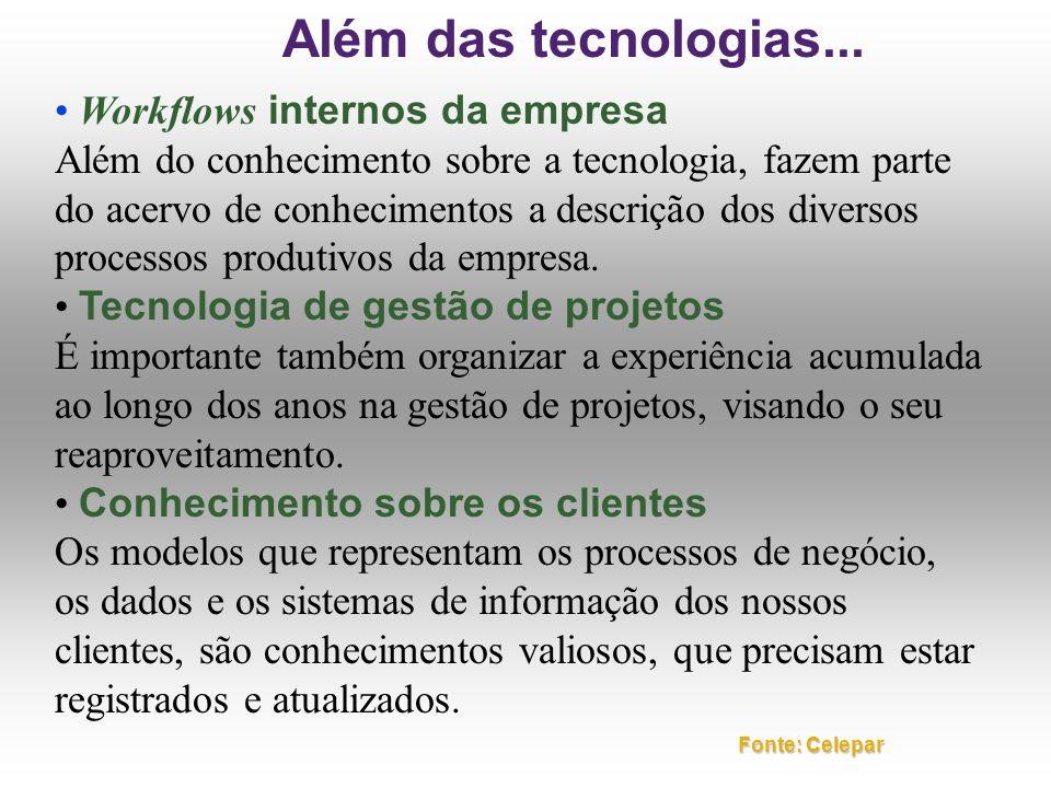 Além das tecnologias... • Workflows internos da empresa