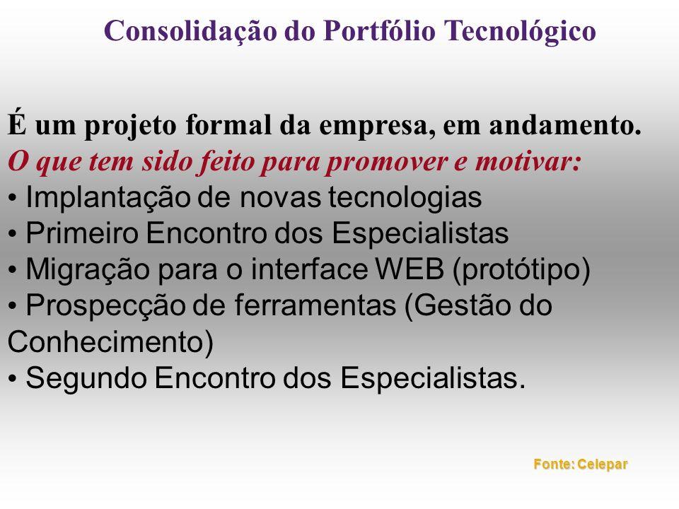 Consolidação do Portfólio Tecnológico