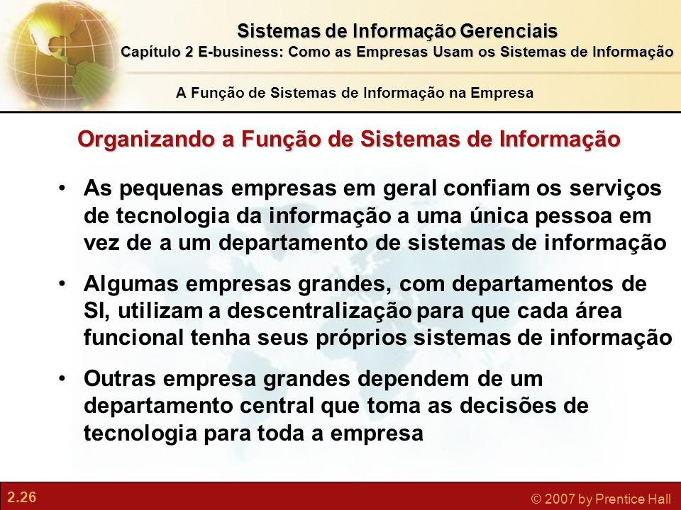 Organizando a Função de Sistemas de Informação