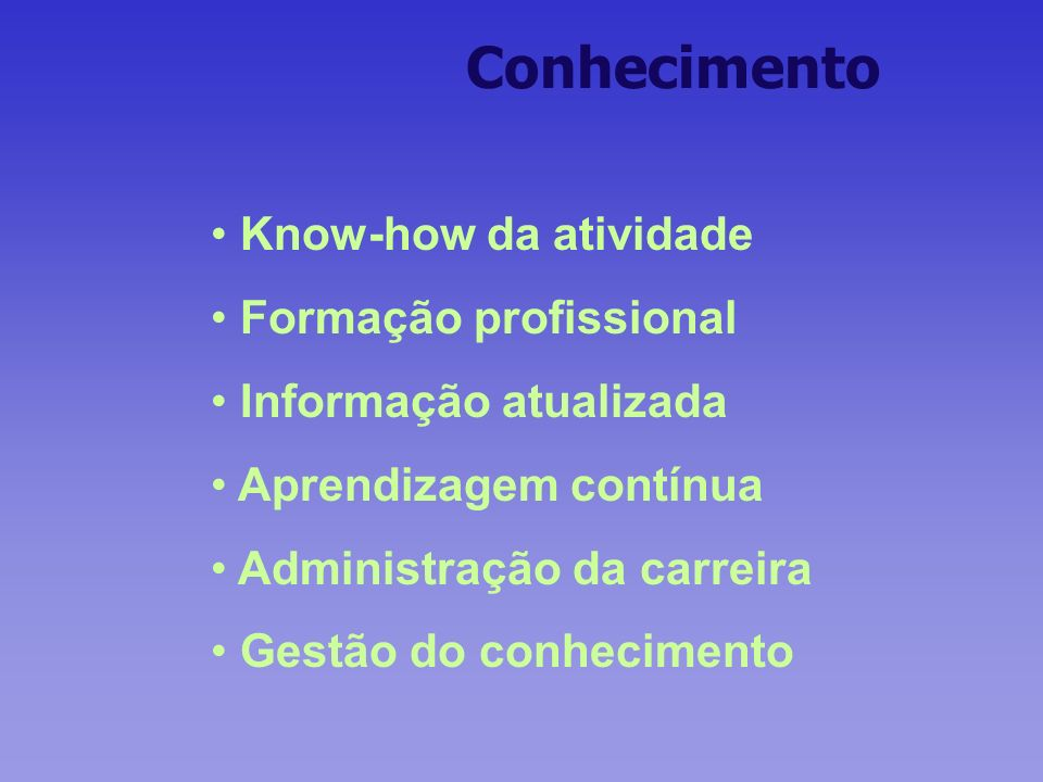 Conhecimento Know-how da atividade Formação profissional