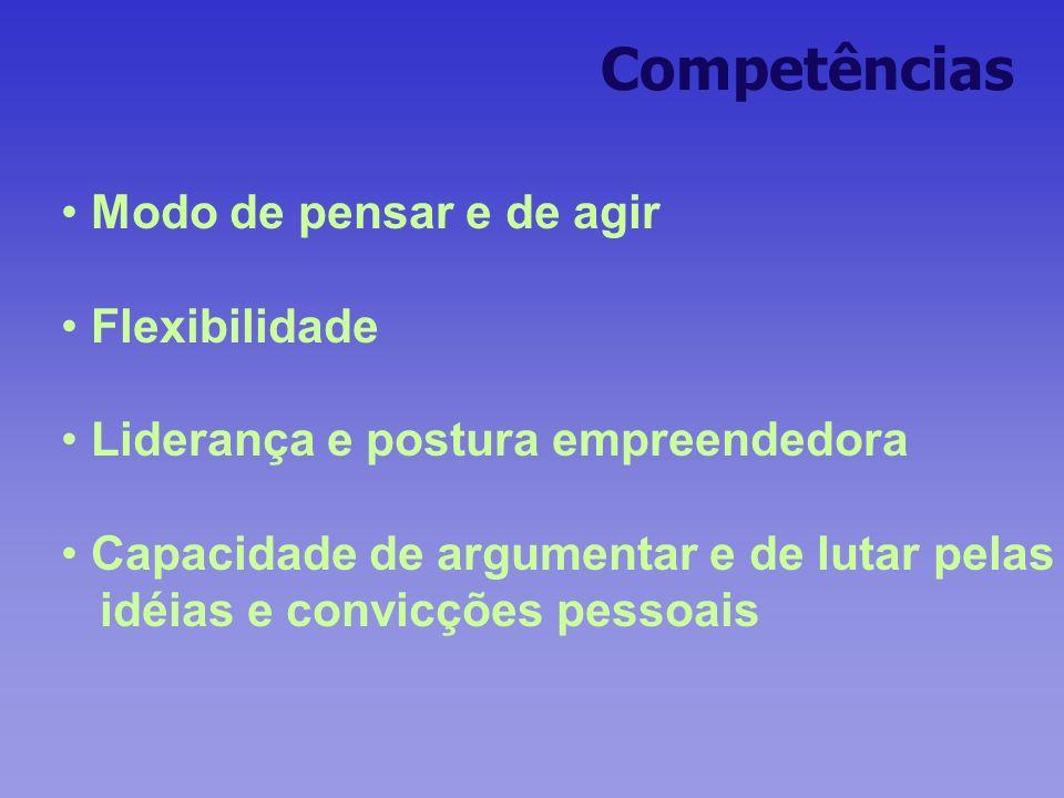 Competências Modo de pensar e de agir Flexibilidade