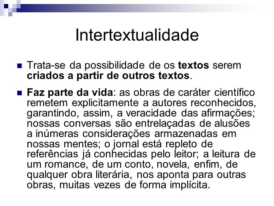 Intertextualidade Trata-se da possibilidade de os textos serem criados a partir de outros textos.