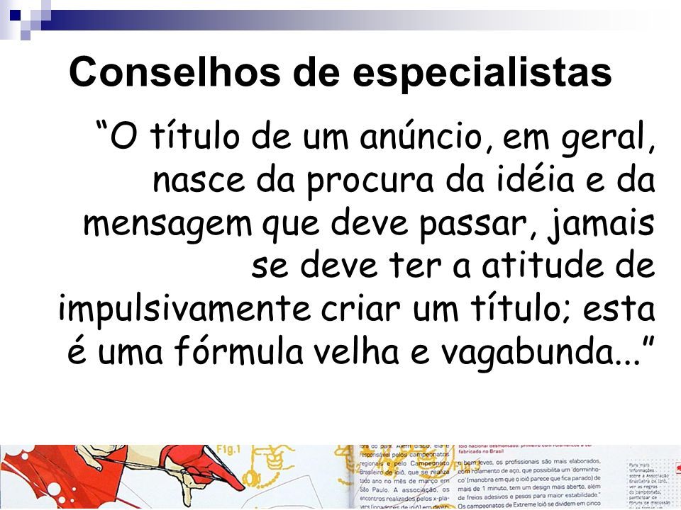 Conselhos de especialistas