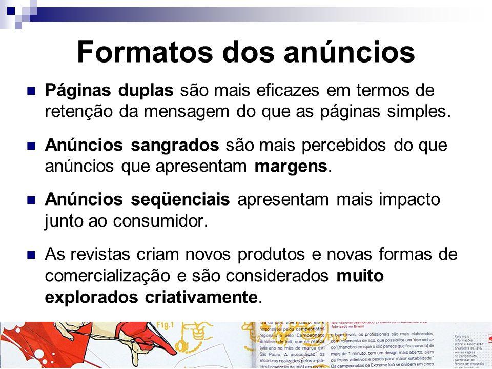 Formatos dos anúncios Páginas duplas são mais eficazes em termos de retenção da mensagem do que as páginas simples.