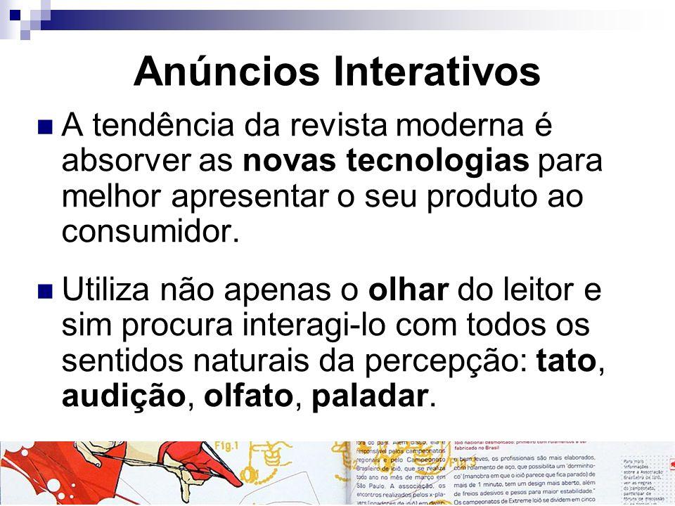 Anúncios Interativos A tendência da revista moderna é absorver as novas tecnologias para melhor apresentar o seu produto ao consumidor.