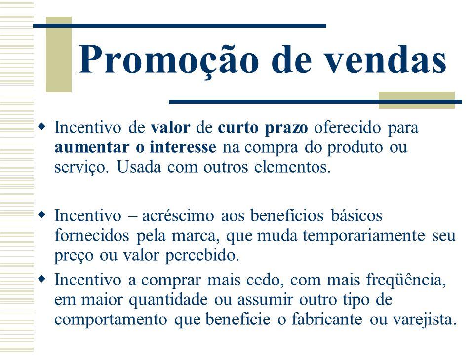 Promoção de vendas Incentivo de valor de curto prazo oferecido para aumentar o interesse na compra do produto ou serviço. Usada com outros elementos.