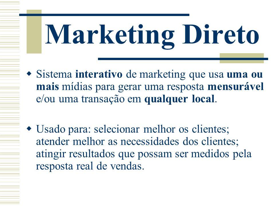 Marketing Direto Sistema interativo de marketing que usa uma ou mais mídias para gerar uma resposta mensurável e/ou uma transação em qualquer local.