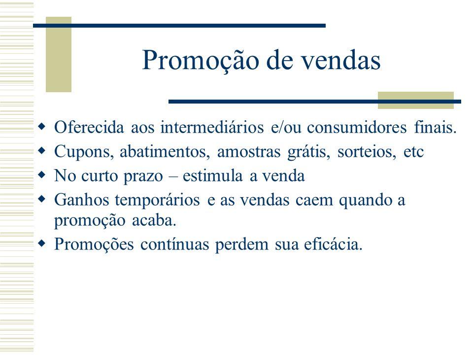 Promoção de vendas Oferecida aos intermediários e/ou consumidores finais. Cupons, abatimentos, amostras grátis, sorteios, etc.