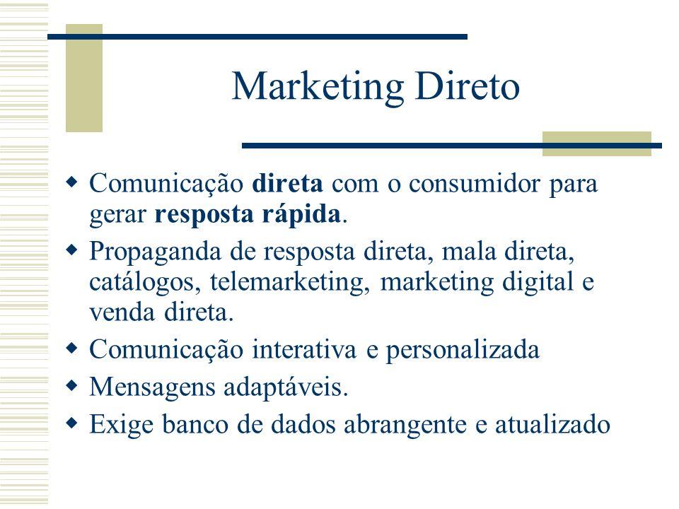 Marketing Direto Comunicação direta com o consumidor para gerar resposta rápida.