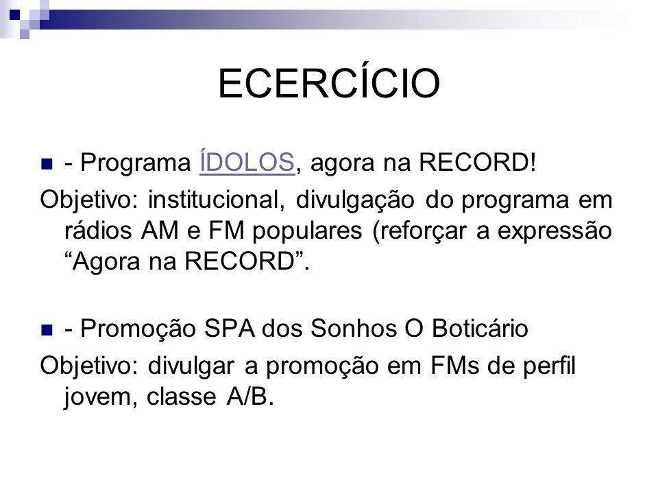 ECERCÍCIO - Programa ÍDOLOS, agora na RECORD!