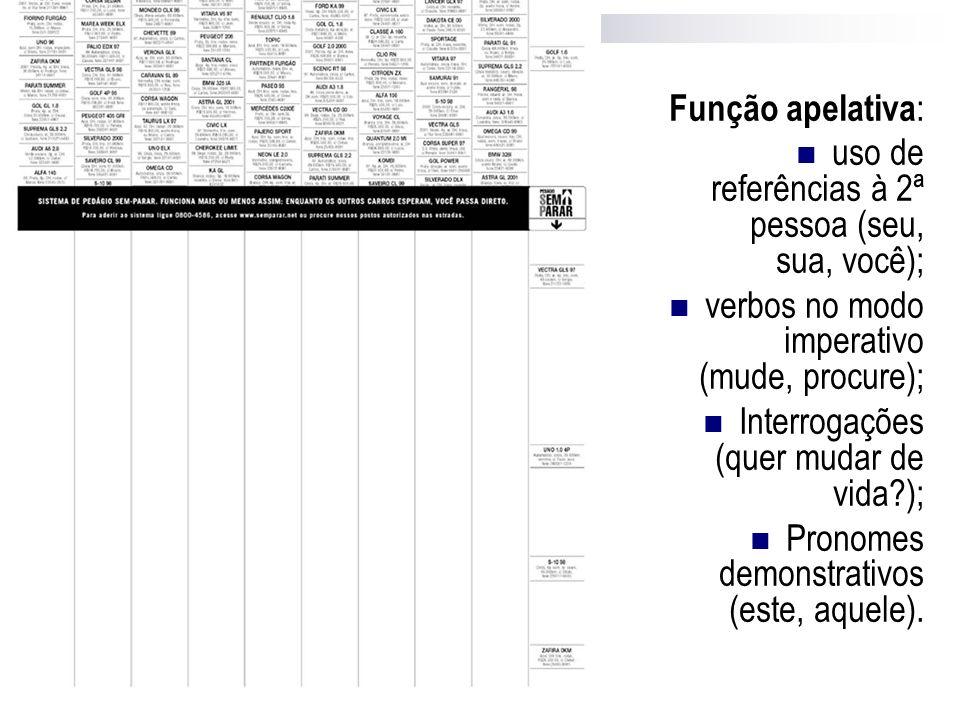 Função apelativa: uso de referências à 2ª pessoa (seu, sua, você); verbos no modo imperativo (mude, procure);