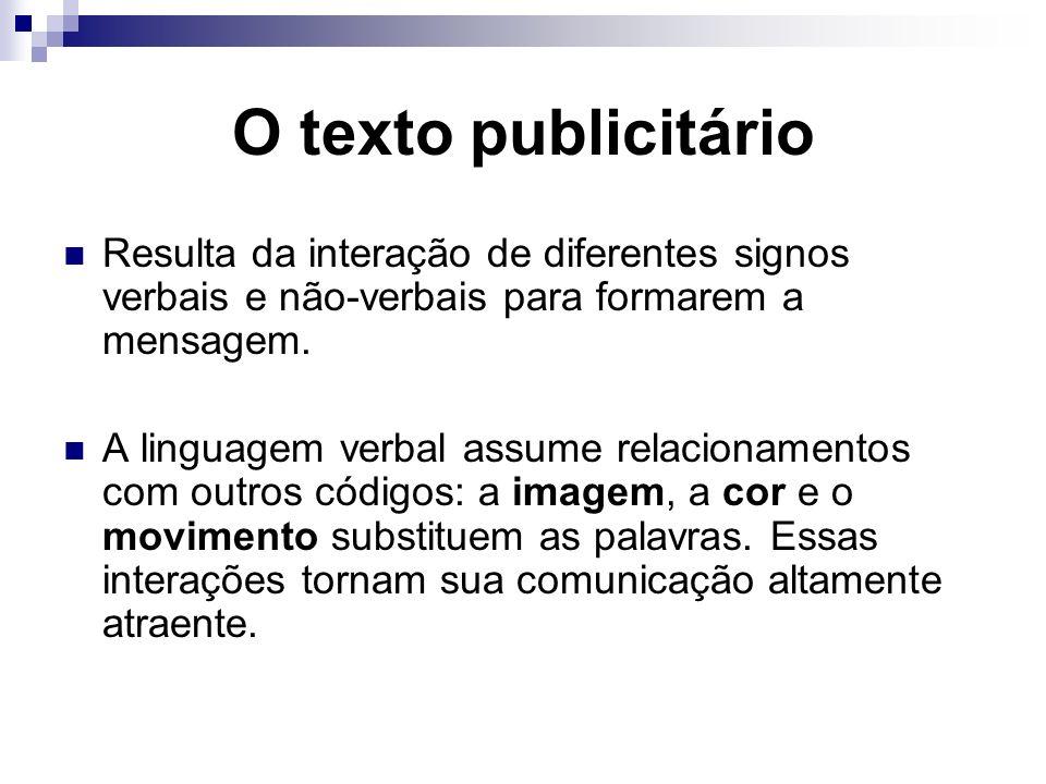 O texto publicitário Resulta da interação de diferentes signos verbais e não-verbais para formarem a mensagem.