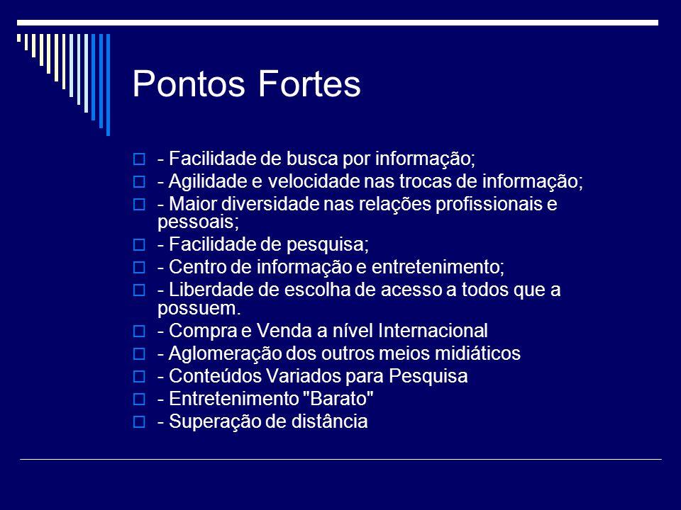 Pontos Fortes - Facilidade de busca por informação;