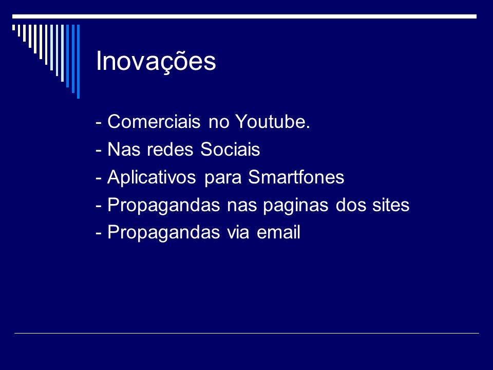 Inovações - Comerciais no Youtube. - Nas redes Sociais
