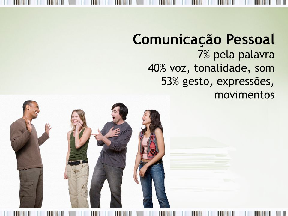 Comunicação Pessoal 7% pela palavra 40% voz, tonalidade, som