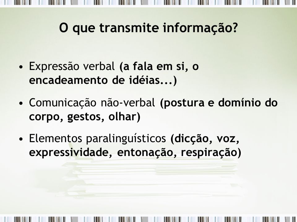 O que transmite informação