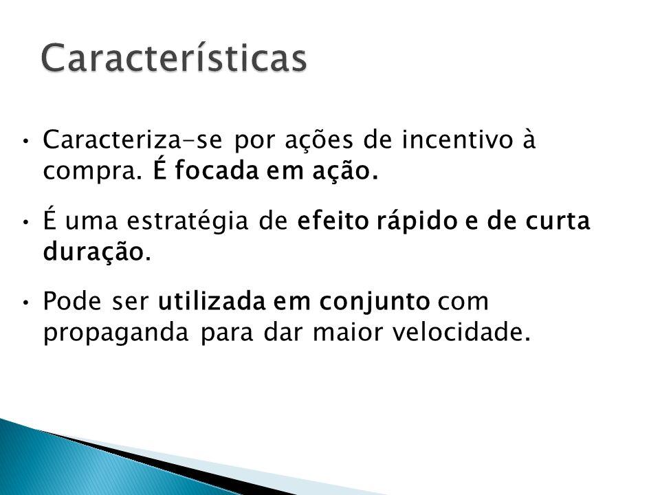 Características Plano de Promoção. Caracteriza-se por ações de incentivo à compra. É focada em ação.