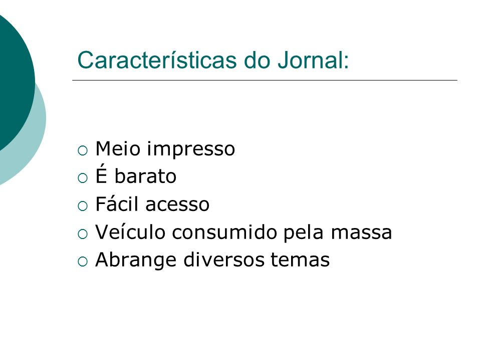 Características do Jornal: