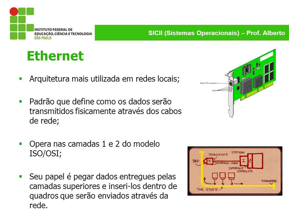 Ethernet Arquitetura mais utilizada em redes locais;