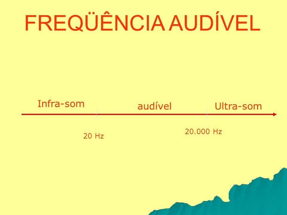 FREQÜÊNCIA AUDÍVEL Infra-som audível Ultra-som 20.000 Hz 20 Hz