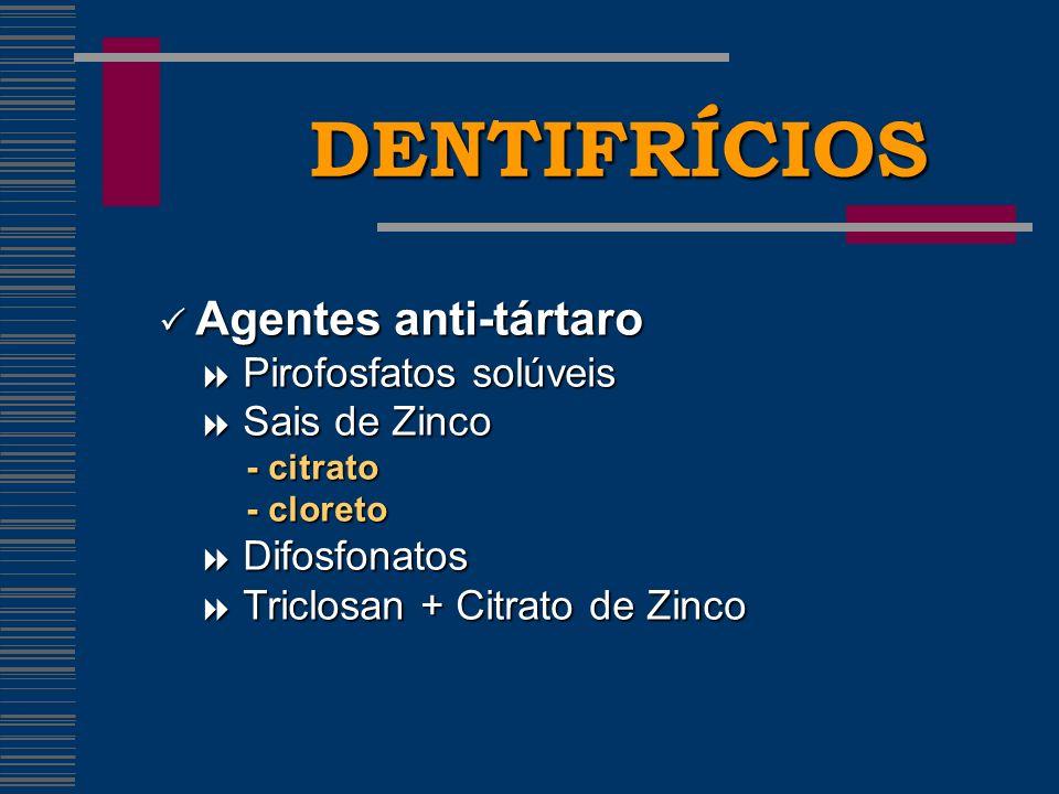 DENTIFRÍCIOS  Agentes anti-tártaro  Pirofosfatos solúveis
